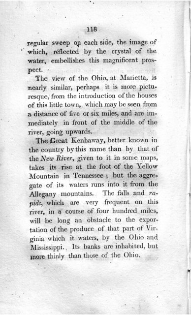 Travels to the westward of the Allegany mountains, in the states of Ohio, Kentucky, and Tennessee, and return to Charlestown, through the upper Carolinas; containing details on the present state of agriculture and the natural production of these countries; as well as information relative to the commercial connections of these states with those situated to the eastward of the mountains and with lower Louisiana. Undertaken in the year x, 1802, under the auspices of His Excellency M. Chaptal, minister of the interior. With a very correct map of the states in the centre, west and south of the United States