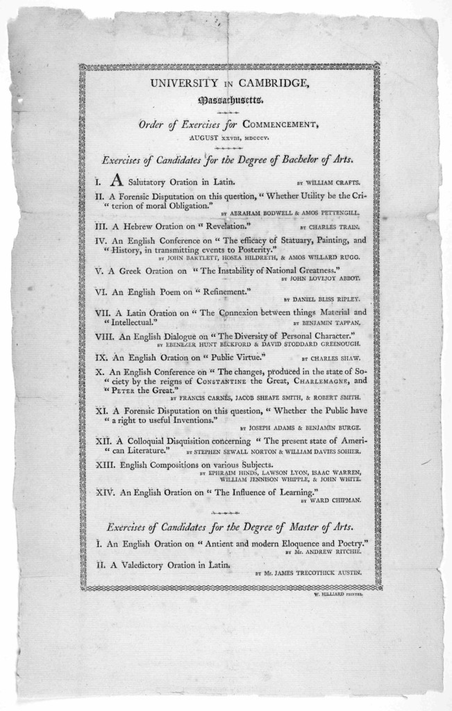 University in Cambridge, Massachusetts. Order of exercises for commencement, August XXVIII, MDCCCV ... [Cambridge] W. Hilliard printer. [1805].
