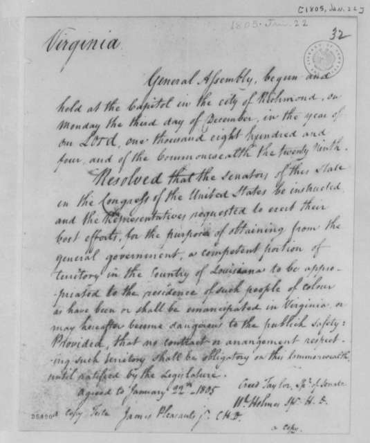 Virginia General Assembly, January 22, 1805, Resolution on Slaves