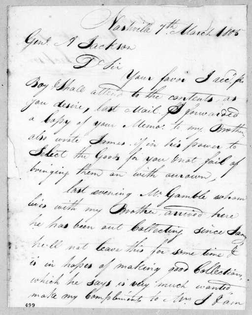 Washington Jackson to Andrew Jackson, March 7, 1805