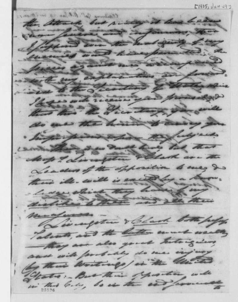 William C. C. Claiborne to Thomas Jefferson, January 28, 1805