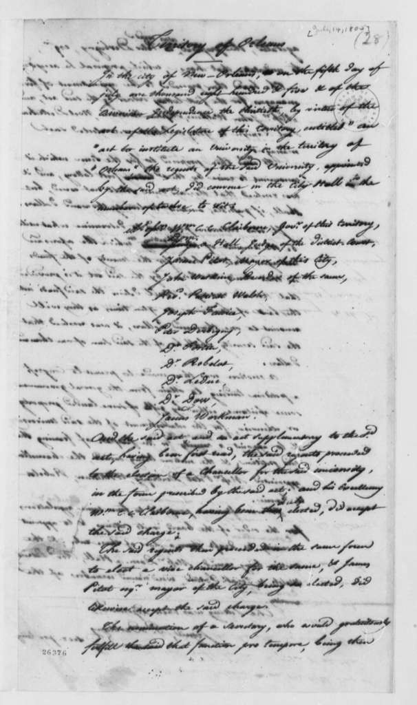William C. C. Claiborne to Thomas Jefferson, July 14, 1805, with Extract
