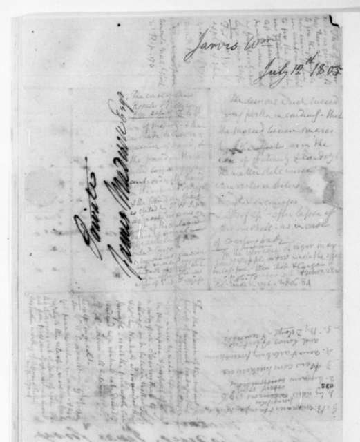 William Jarvis to James Madison, July 12, 1805. With bill of lading.