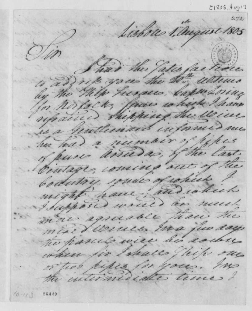 William Jarvis to Thomas Jefferson, August 1, 1805, with Bill of Lading