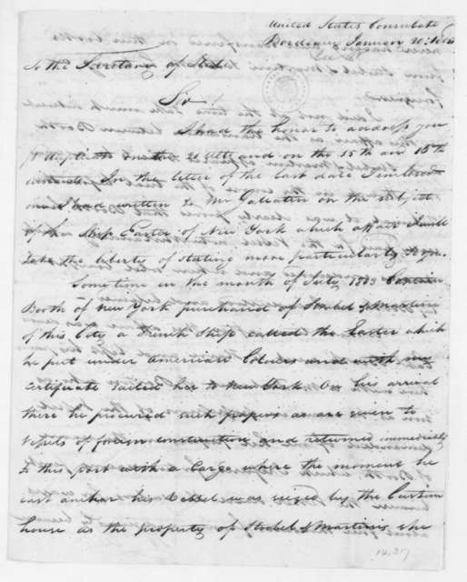 William Lee to James Madison, January 20, 1805. With Copy.