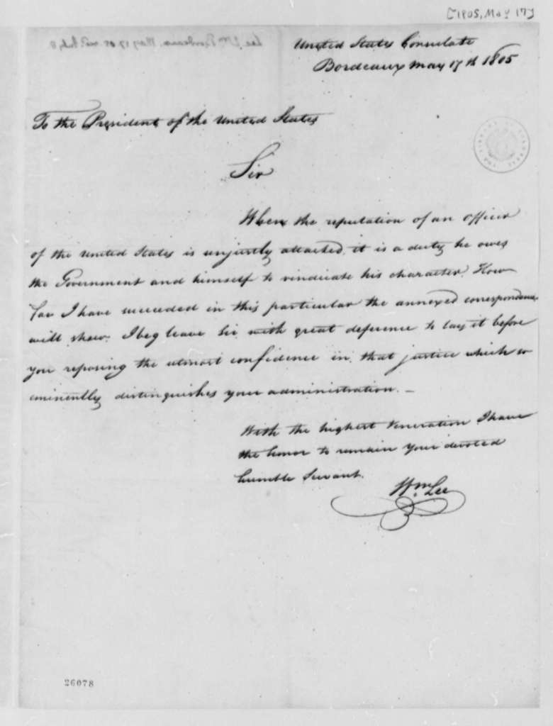 William Lee to Thomas Jefferson, May 17, 1805