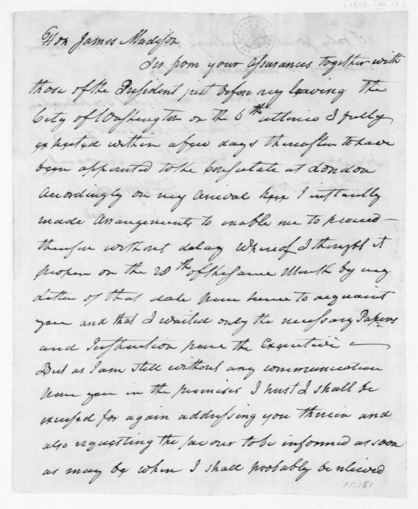 William Lyman to James Madison, January 12, 1805.
