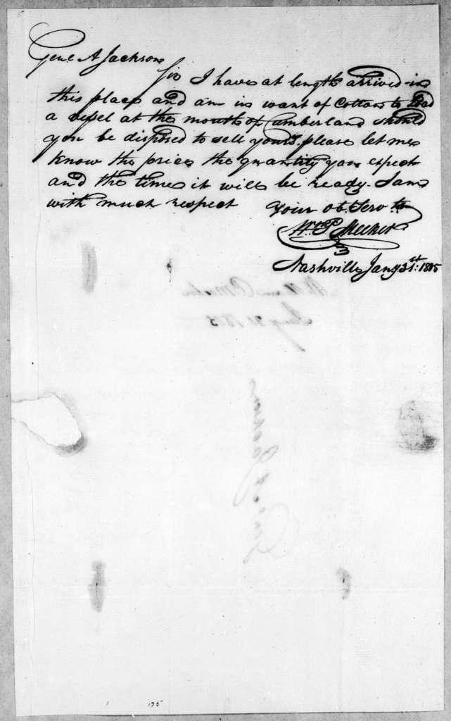 William P. Meeker to Andrew Jackson, January 31, 1805