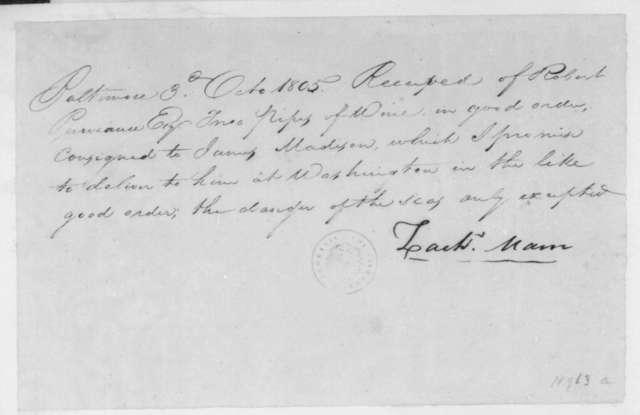 Zachery Mann to Robert Purviance, October 3, 1805. Receipt.