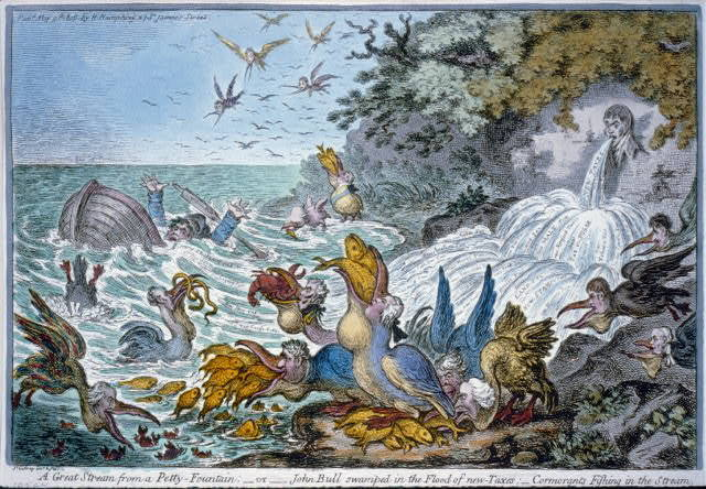 A great stream from a petty-fountain; or John Bull swamped in the flood of new - taxes; - cormorants fishing the stream