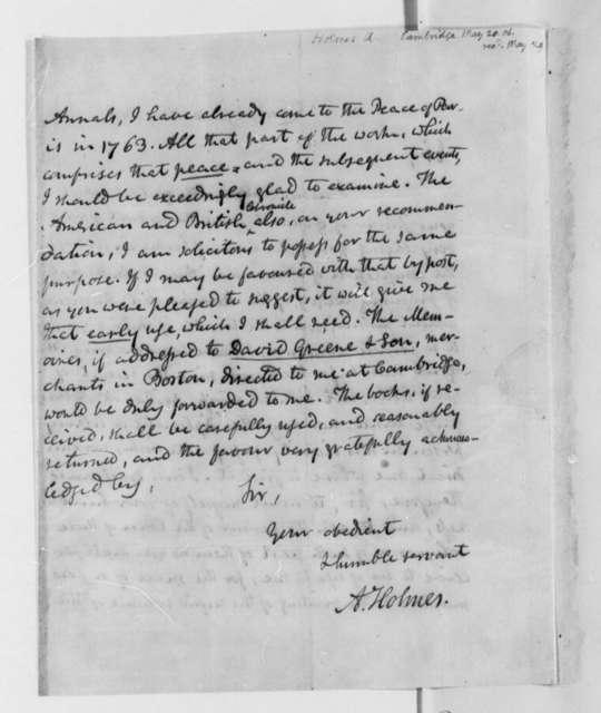 Abiel Holmes to Thomas Jefferson, May 20, 1806