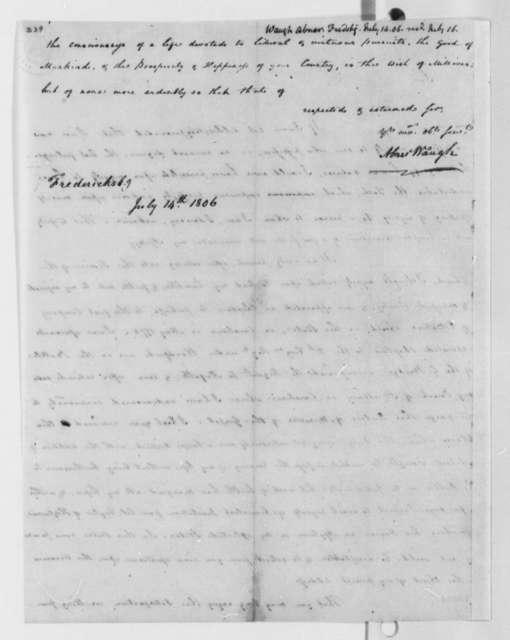 Abner Waugh to Thomas Jefferson, July 14, 1806