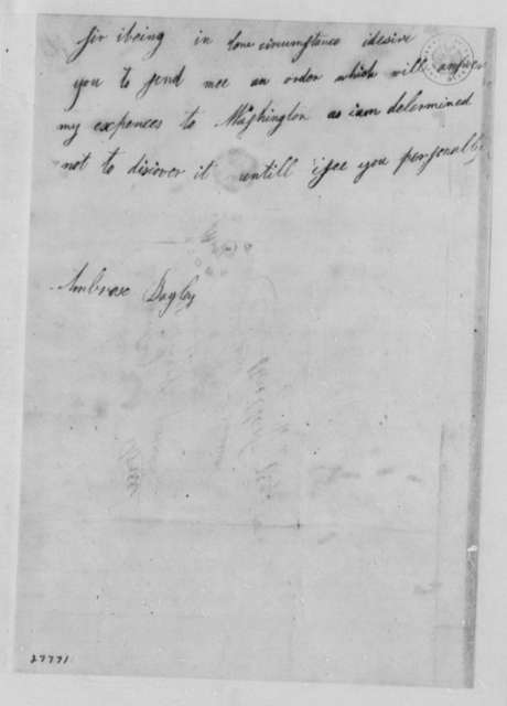 Ambrose Bayley to Thomas Jefferson, May 1, 1806