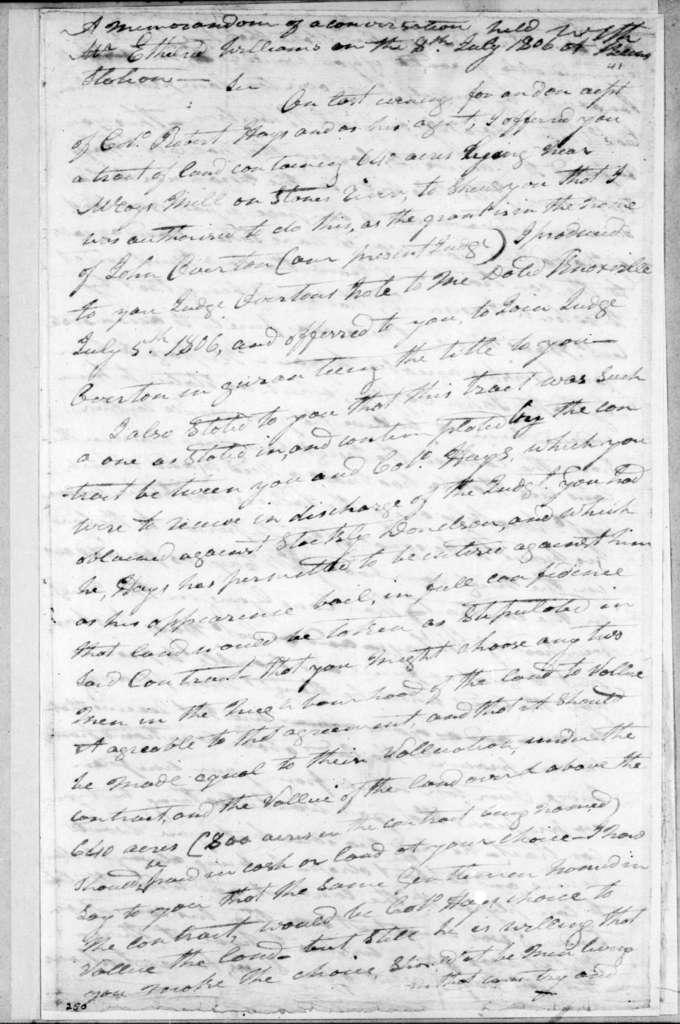 Andrew Jackson to Ethelred Williams, July 8, 1806
