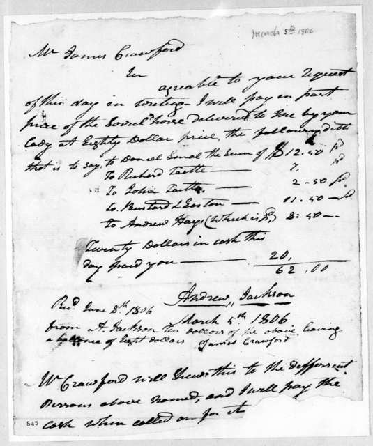 Andrew Jackson to James Crawford, March 5, 1806