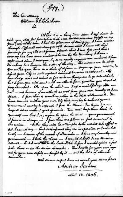 Andrew Jackson to William Charles Cole Claiborne, November 12, 1806