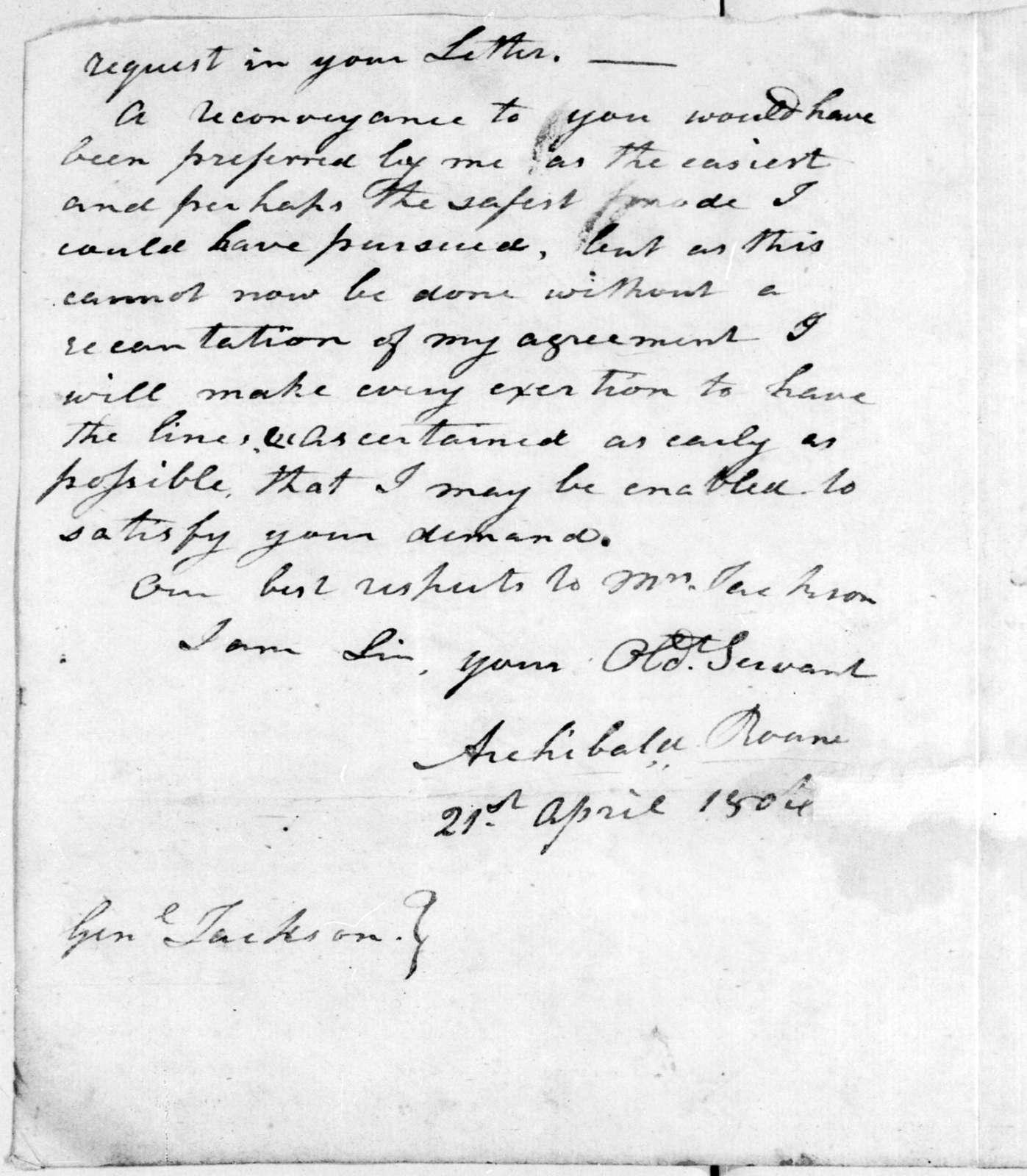 Archibald Roane to Andrew Jackson, April 21, 1806