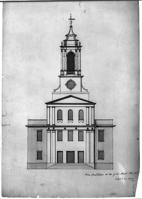 "Architectural drawing for alterations to a Congregational church (""Old South Church""), Hallowell, Maine. Front elevation"