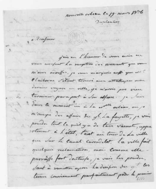 Armand Duplantier to James Madison, March 19, 1806. In French.