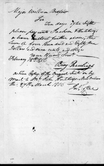 B. Rawlings to William Bradford, February 18, 1806
