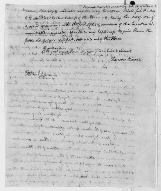 Barnabas Bidwell to Thomas Jefferson, July 28, 1806