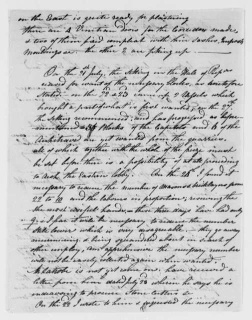 Benjamin H. Latrobe and John Lenthall to Thomas Jefferson, August 1, 1806, Progress Report on the South Wing of the Capitol Building