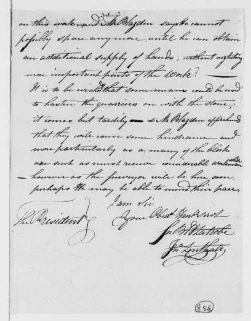 Benjamin H. Latrobe and John Lenthall to Thomas Jefferson, July 14, 1806, Progress Report on the South Wing of the Capitol Building
