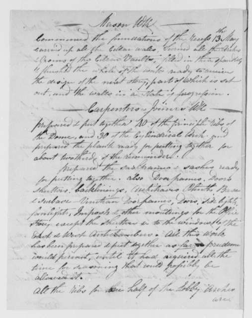 Benjamin H. Latrobe and John Lenthall to Thomas Jefferson, June 15, 1806, Progress Report on the South Wing of the Capitol Building