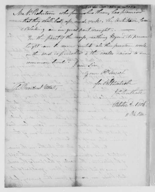Benjamin H. Latrobe and John Lenthall to Thomas Jefferson, October 2, 1806