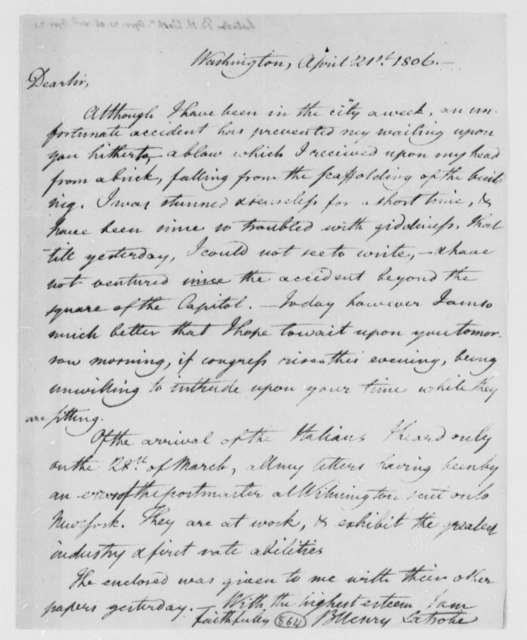 Benjamin H. Latrobe, Surveyor of the Public Buildings to Thomas Jefferson, April 21, 1806