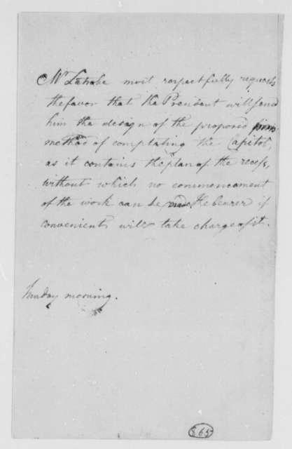 Benjamin H. Latrobe, Surveyor of the Public Buildings to Thomas Jefferson, April 27, 1806