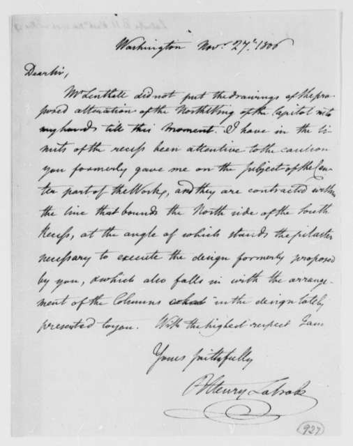 Benjamin H. Latrobe, Surveyor of the Public Buildings to Thomas Jefferson, November 27, 1806