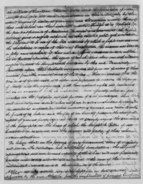 Bergen County, New Jersey, Republicans to Thomas Jefferson, November 14, 1806
