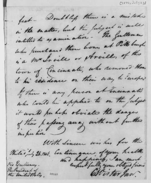 Caspar Wistar to Thomas Jefferson, July 26, 1806