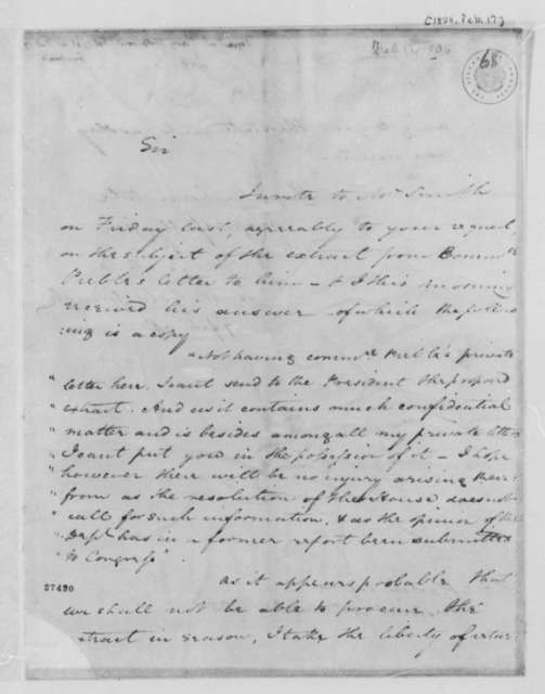 Charles W. Goldsborough to Thomas Jefferson, February 17, 1806