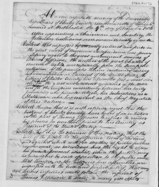 Chester County, Pennsylvania, Democratic Republicans to Thomas Jefferson, November 4, 1806