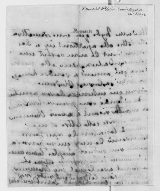Countess D'Houdetot to Thomas Jefferson, August 16, 1806, in French