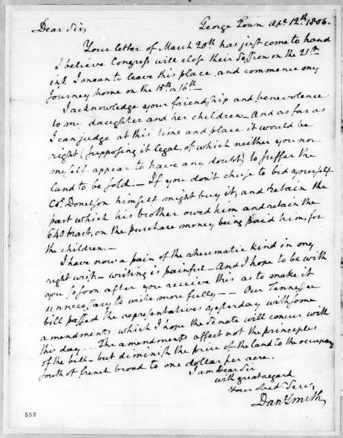 Dan Smith to Andrew Jackson, April 12, 1806