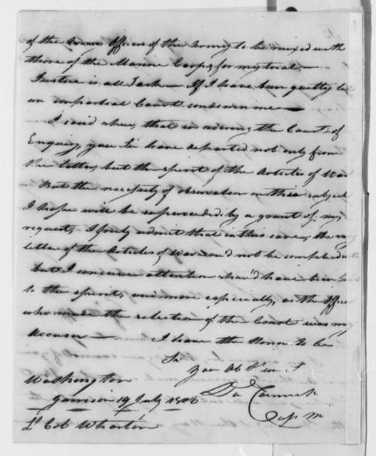 Daniel Carmick to Franklin Wharton, July 19, 1806