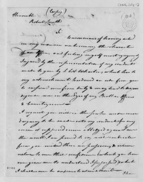 Daniel Carmick to Robert Smith, July 1, 1806