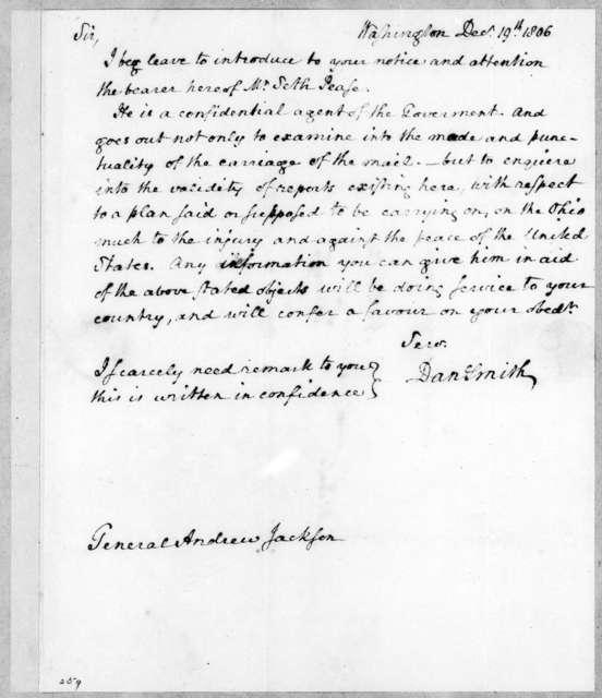 Daniel Smith to Andrew Jackson, December 19, 1806