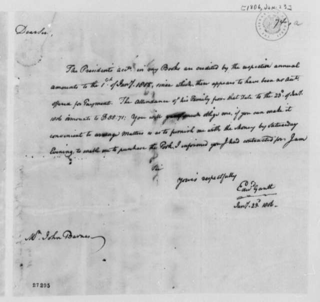 Edward Gantt to John Barnes, January 23, 1806