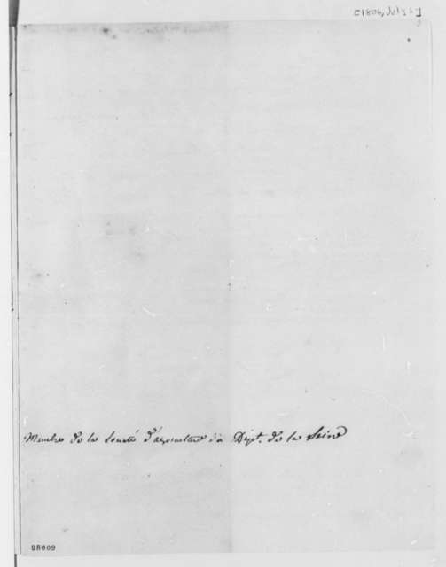F. Andre Michaux to Thomas Jefferson, July 6, 1806, in French
