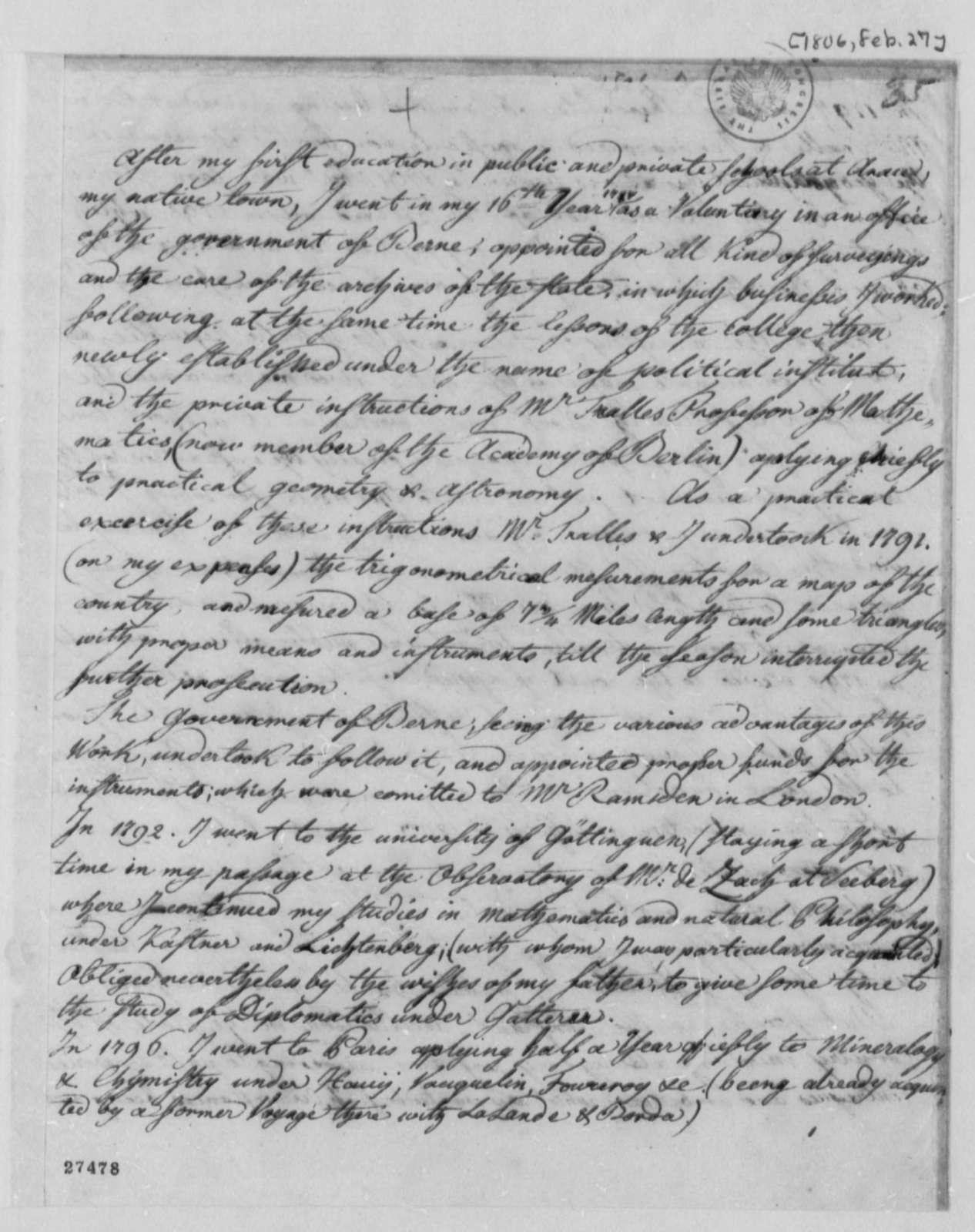 Ferdinand R. Hassler to Robert Patterson, February 27, 1806