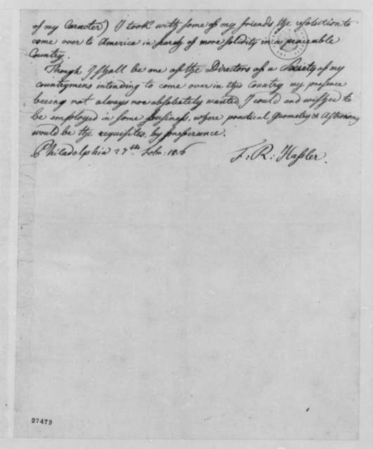 Ferdinand R. Hassler to Robert Patterson, February 27, 1806