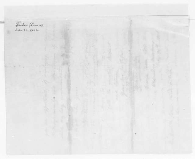 Francis Corbin to James Madison, July 30, 1806.
