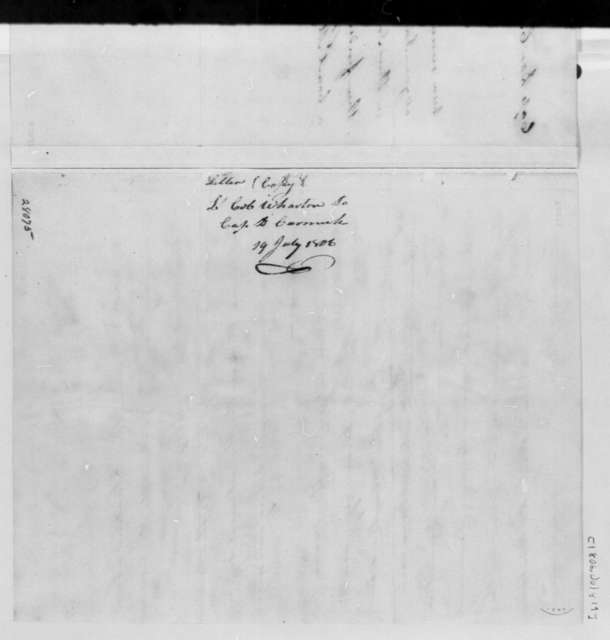 Franklin Wharton to Daniel Carmick, July 19, 1806