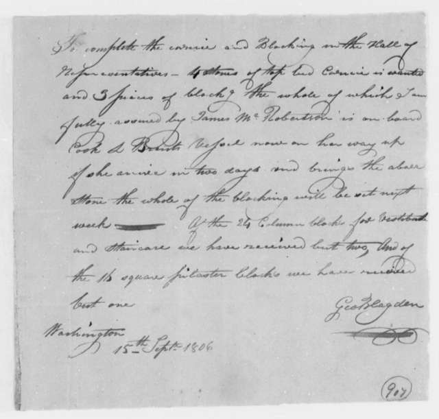 George Blagden, Superintendent of Stonework and Quarries to Thomas Jefferson, September 15, 1806