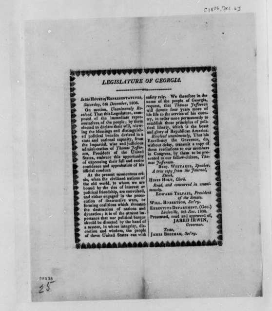 Georgia Legislature to Thomas Jefferson, December 6, 1806, Printed Resolutions