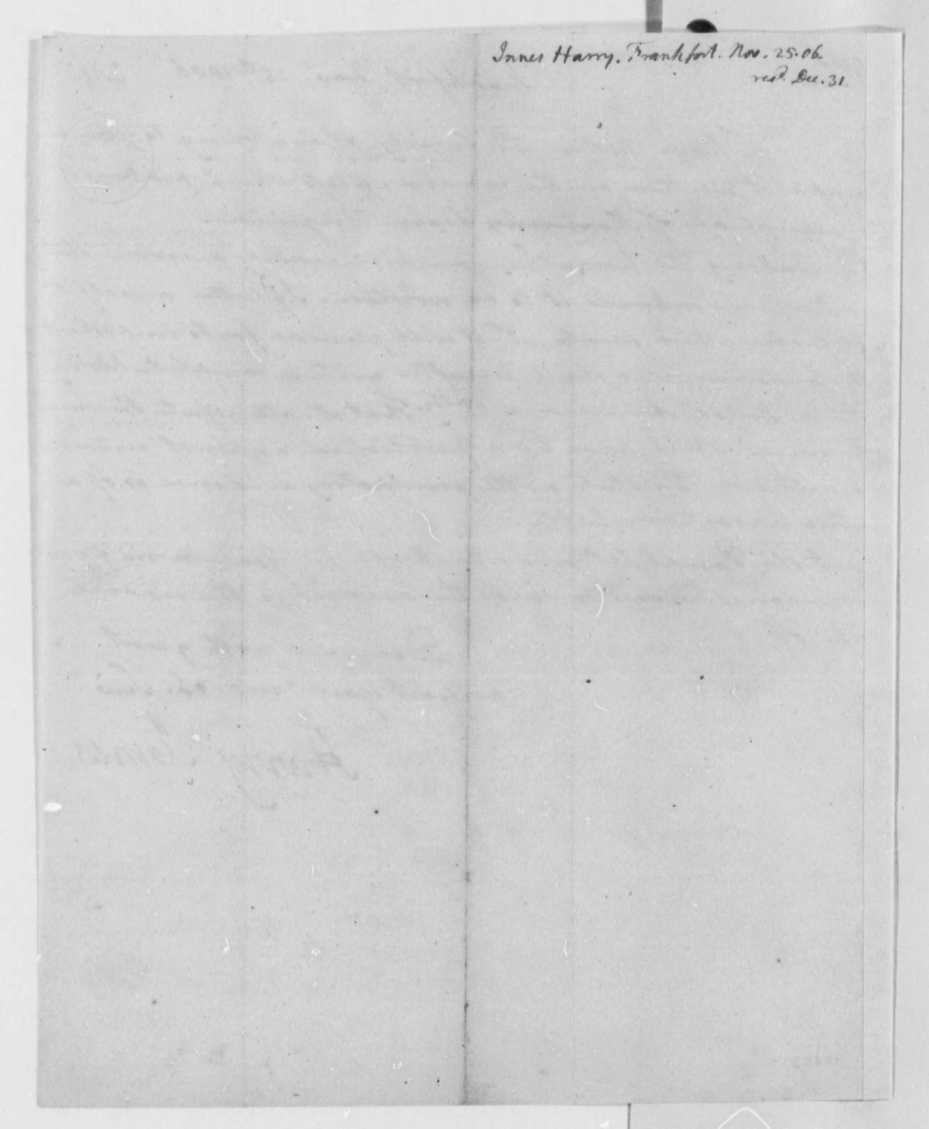 Harry Innes to Thomas Jefferson, November 25, 1806